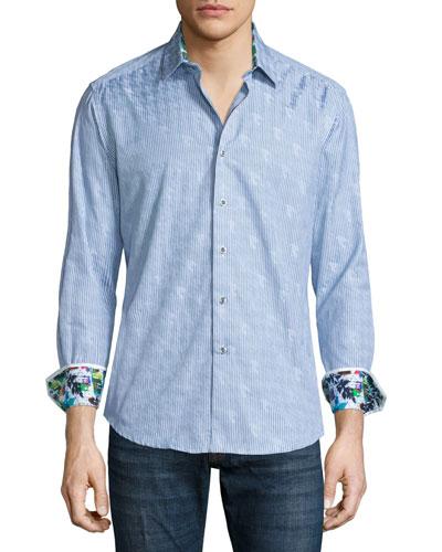 High Desert Thin-Striped Woven Sport Shirt, Blue