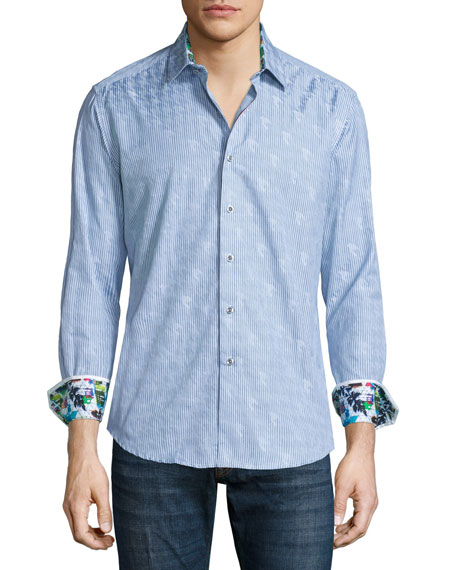 Robert Graham High Desert Thin-Striped Woven Sport Shirt,