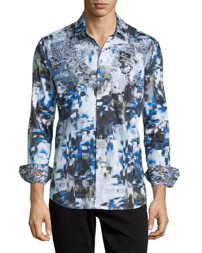 Boron Printed Long-Sleeve Sport Shirt, Black Multi