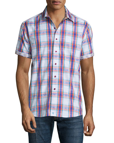 Barstow Multicolor-Check Short-Sleeve Shirt, Cobalt