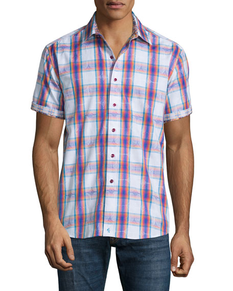 Robert Graham Barstow Multicolor-Check Short-Sleeve Shirt, Cobalt