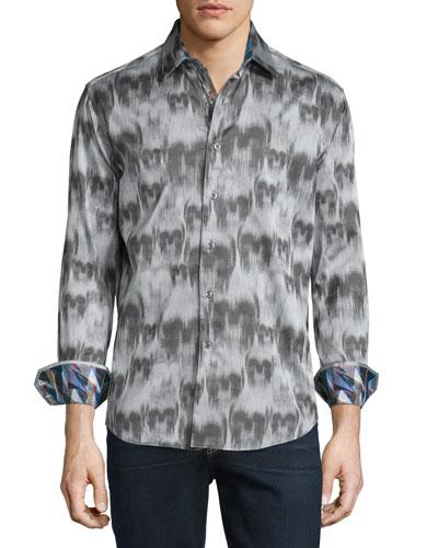 Ghostriders Skull-Print Sport Shirt, Gray