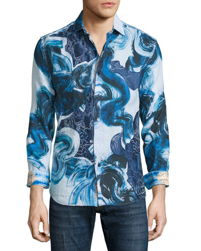 Limited Edition Printed Linen Sport Shirt, Blue