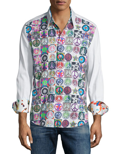Allover Peace Sign-Print Sport Shirt, White