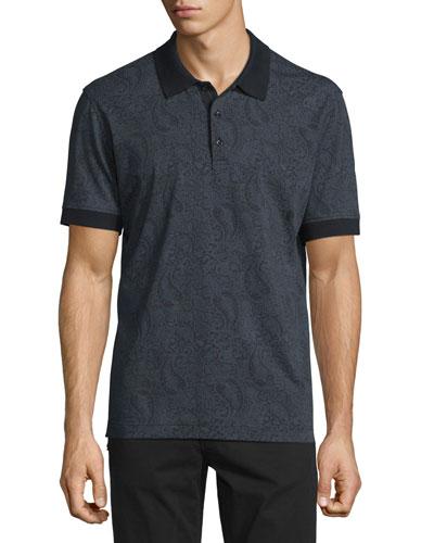 Paisley-Print Short-Sleeve Polo Shirt, Black
