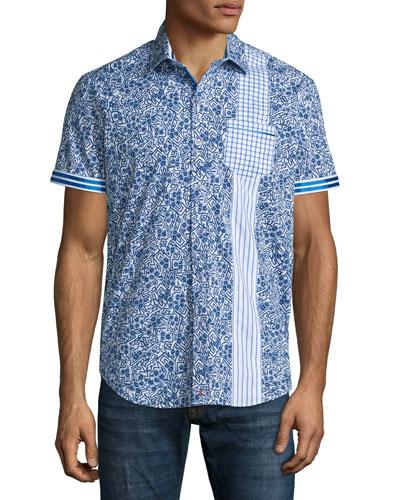 Rosy Boa Multi-Print Short-Sleeve Shirt, Cobalt