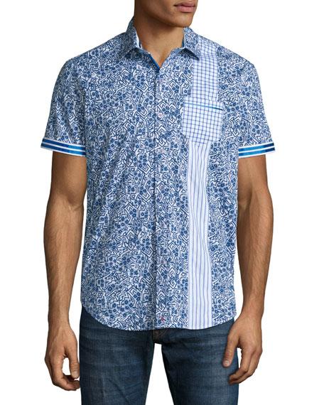 Robert Graham Rosy Boa Multi-Print Short-Sleeve Shirt, Cobalt
