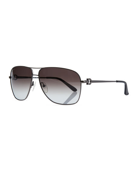 Salvatore Ferragamo Navigator Metal Sunglasses, Gunmetal