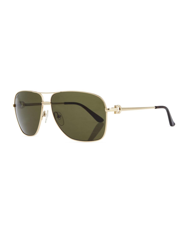 faf01fc797ecc Salvatore Ferragamo Navigator Metal Aviator Sunglasses