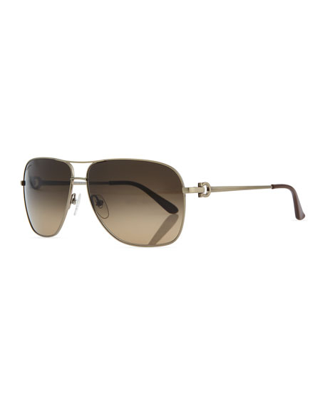 Salvatore Ferragamo Navigator Metal Sunglasses, Brushed Gold