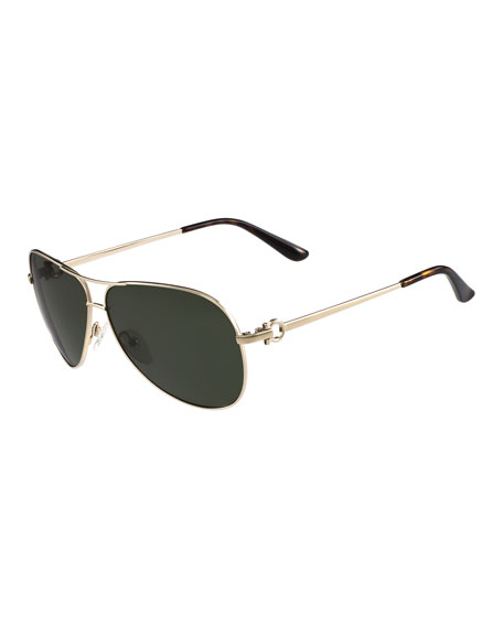 Salvatore Ferragamo Metal Aviator Sunglasses with Gancini Temple,