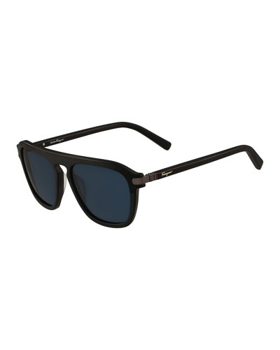 Gancini Bridge Plastic Square Sunglasses, Black Matte