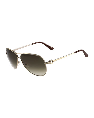 Metal Aviator Sunglasses with Gancini Temple, Brushed Gold
