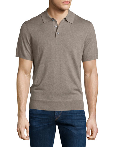 Short-Sleeve Cashmere-Silk Polo Shirt, Taupe Grey