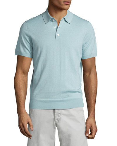 Short-Sleeve Cashmere-Silk Polo Shirt, Mint
