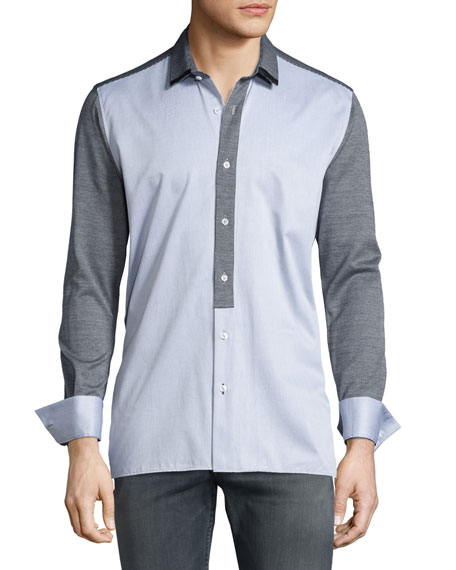 Bon Vivan Colorblock Knit-Paneled Long-Sleeve Sport Shirt