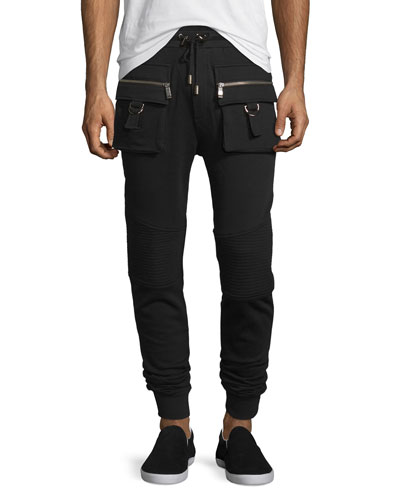Cargo Moto-Style Jogger Sweatpants, Black