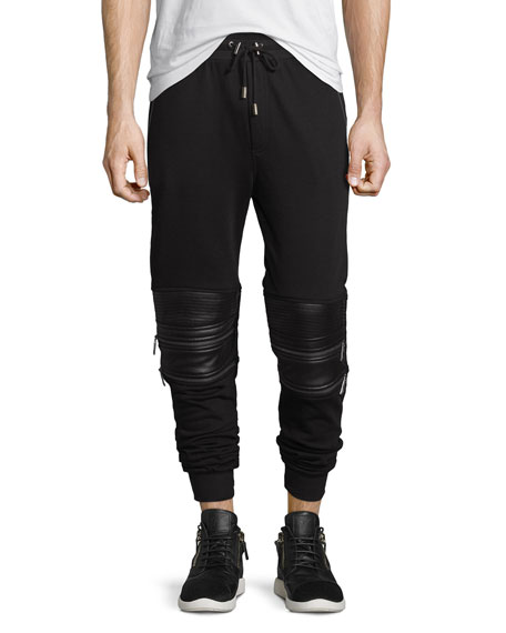 Moto Sweatpants w/Faux-Leather Panels, Black