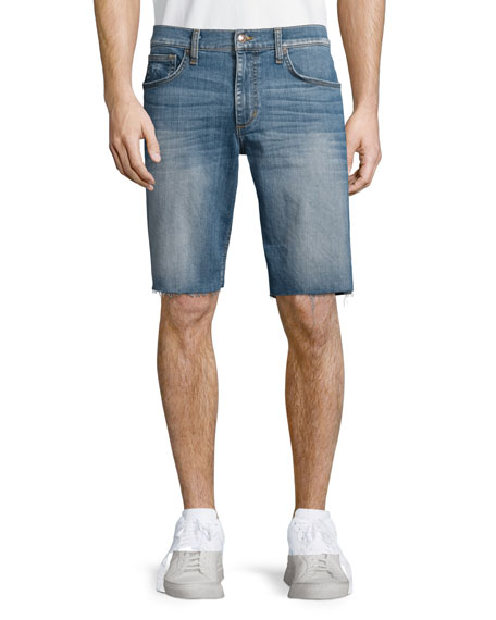Cutoff-Hem Denim Shorts, Blue