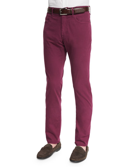 Incotex Ray Washed Regular-Fit Pants, Raspberry