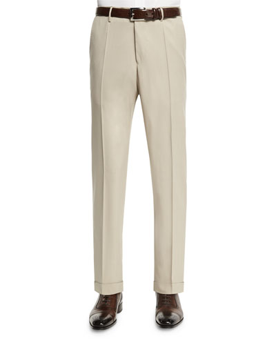 Benson Standard-Fit Wool Trousers, Tan