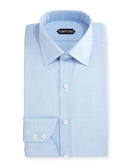 TOM FORD Slim-Fit Micro-Houndstooth Dress Shirt, Light Blue