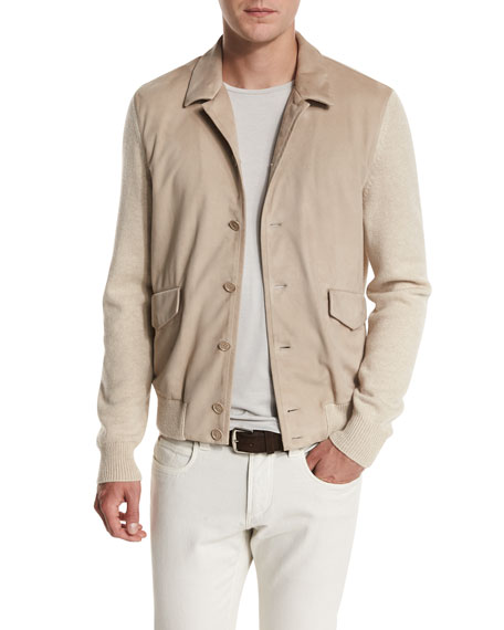 Loro Piana Summit Rock Cashmere & Suede Bomber