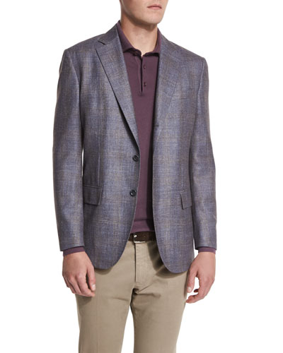 Check-Pattern Cheviot Twill Jacket, Blue/Taupe Fancy