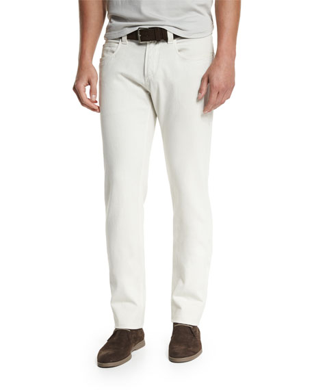 Loro Piana Five-Pocket Slim-Fit Pants, Dusty White