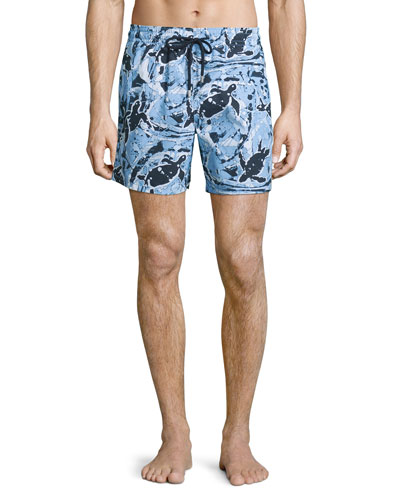 Moorea Paint-Splatter Print Swim Trunks, Pollock