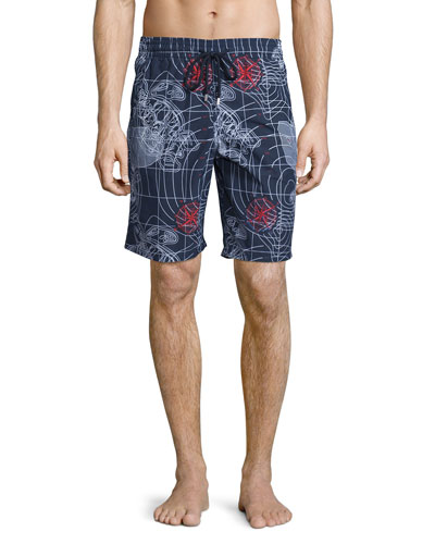 Okoa Sonar-Print Swim Trunks, Navy