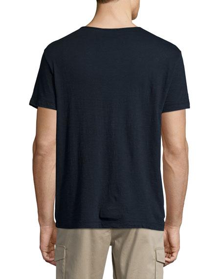 Nayte Short-Sleeve Slub Henley T-Shirt, Eclipse