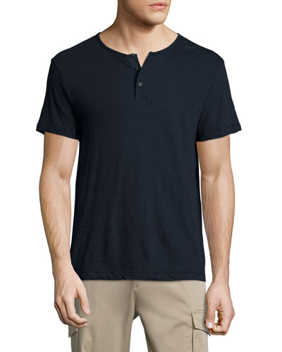 Nayte Short-Sleeve Slub Henley T-Shirt, Eclipse