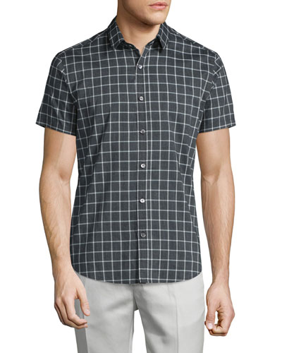 Zack PS Check Short-Sleeve Sport Shirt, Dark Grey