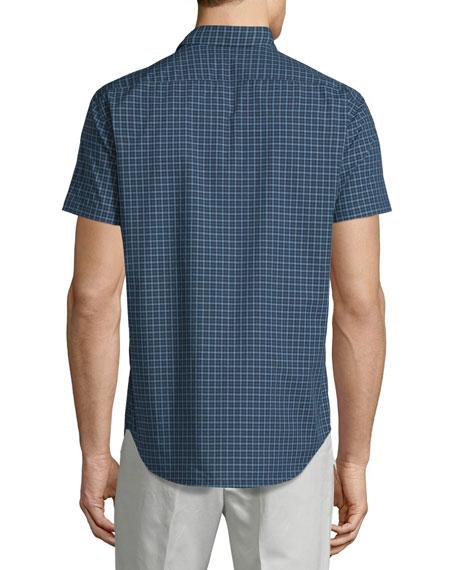 Short-Sleeve Micro-Check Woven Sport Shirt, Theorist Multi