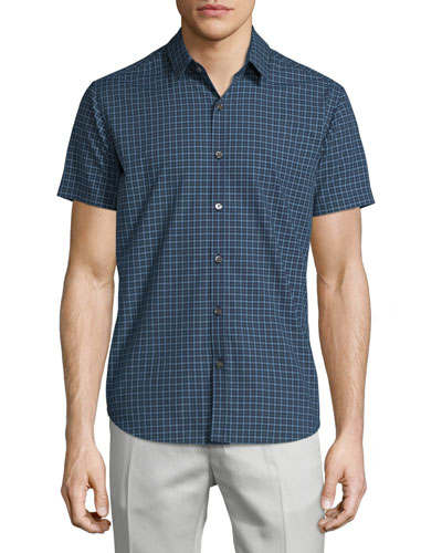 Short-Sleeve Micro-Check Woven Sport Shirt, Theorist Multi