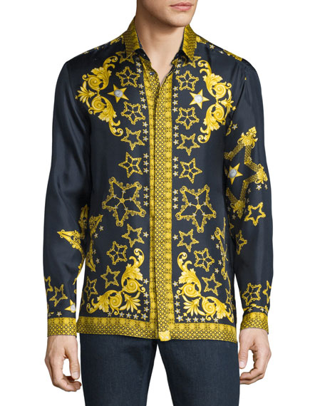 Baroque & Star Printed Long-Sleeve Silk Shirt, Navy