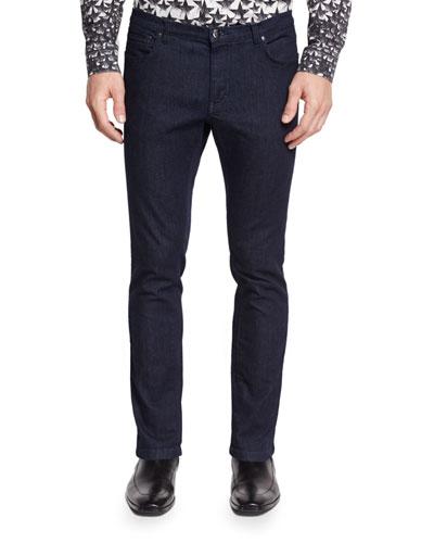 Slim-Fit Dark Wash Skinny Jeans, Ink