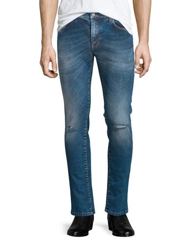 Destroyed Skinny-Leg Bleached Denim Jeans, Blue