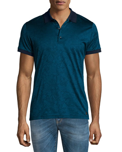 Tonal-Pattern Jacquard Short-Sleeve Polo Shirt, Teal