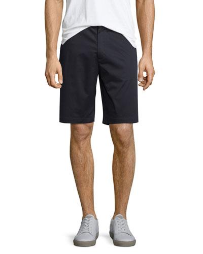 Flat-Front Sateen Shorts, Navy