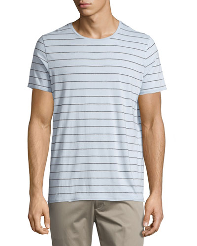 Shadow-Striped Short-Sleeve Crewneck Tee, Lucent Blue