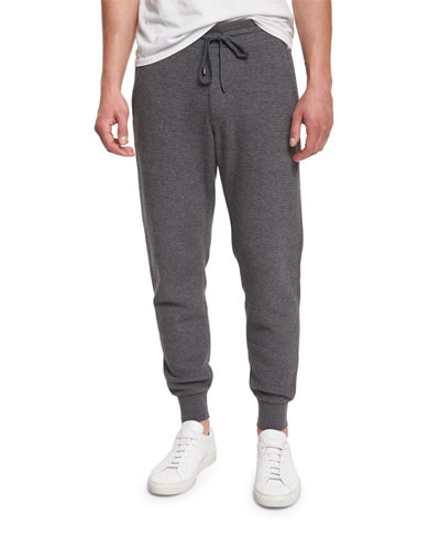 Racking Thermal-Stitch Drawstring Sweatpants, Heather Carbon