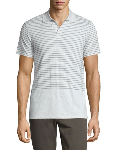 Engineered-Stripe Short-Sleeve Polo Shirt, Heathered White