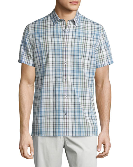 Vince Melrose Plaid Short-Sleeve Shirt & Flat-Front Sateen