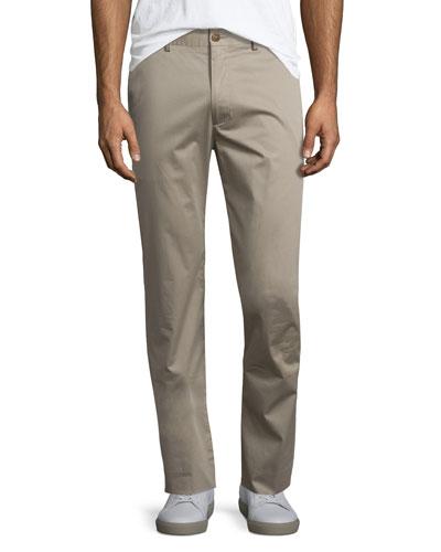Flat-Front Stretch Sateen Pants, Vintage Khaki