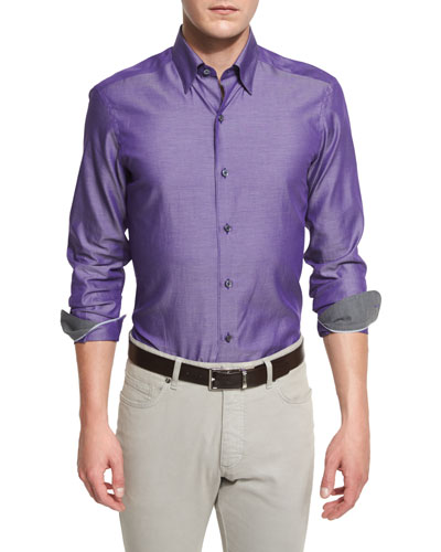 Shiny Solid Long-Sleeve Sport Shirt, Purple