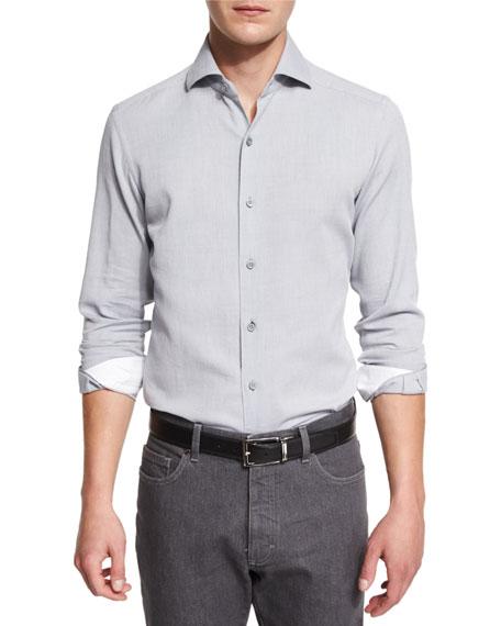 Ermenegildo Zegna Mesh-Print Long-Sleeve Sport Shirt, Gray
