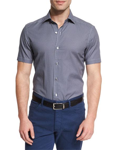 Ermenegildo Zegna Soccer Ball Print Short-Sleeve Sport Shirt
