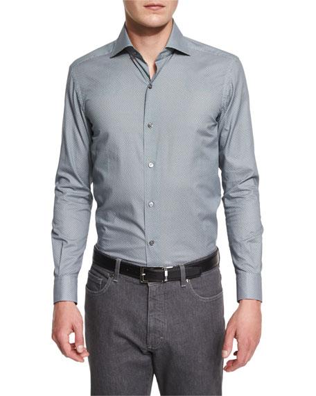 Ermenegildo Zegna Umbrella-Print Long-Sleeve Sport Shirt, Green